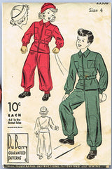 1940s Vintage Du Barry Sewing Pattern 2350 WWII Toddlers Snowsuit & Hat Size 4 - Vintage4me2