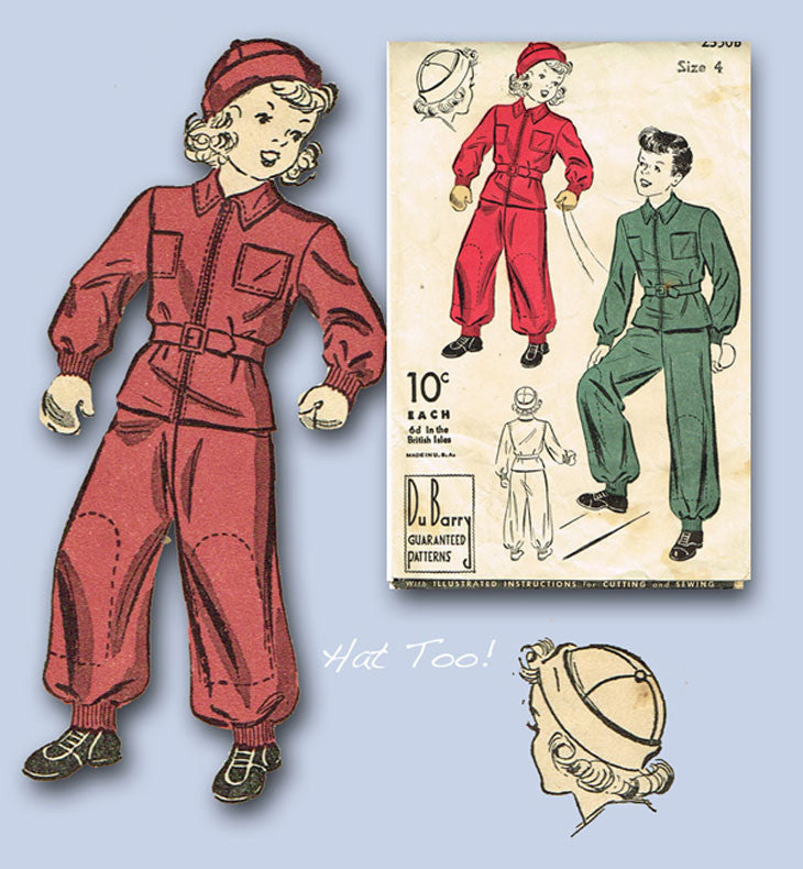 1930s Vintage Du Barry Sewing Pattern 2350 WWII Toddlers Snowsuit & Hat  Size 4