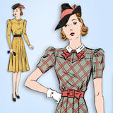 1930s Vintage Du Barry Sewing Pattern 2385 Misses WWII Street Dress Size 34 Bust