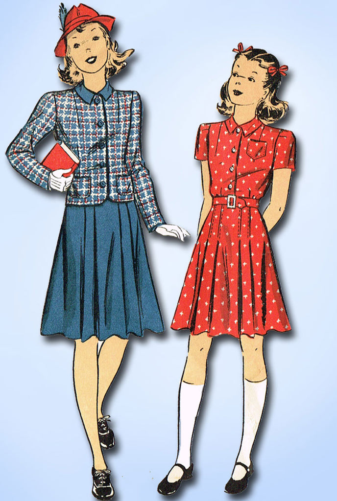 1940s Original Vintage Du Barry Pattern 2466 WWII Girls Shirtwaist Dress Size 8