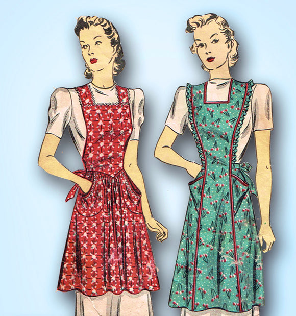 1940s Vintage Du Barry Sewing Pattern 2596 Misses WWII Farm Kitchen Apron Sz 40 42 Bust