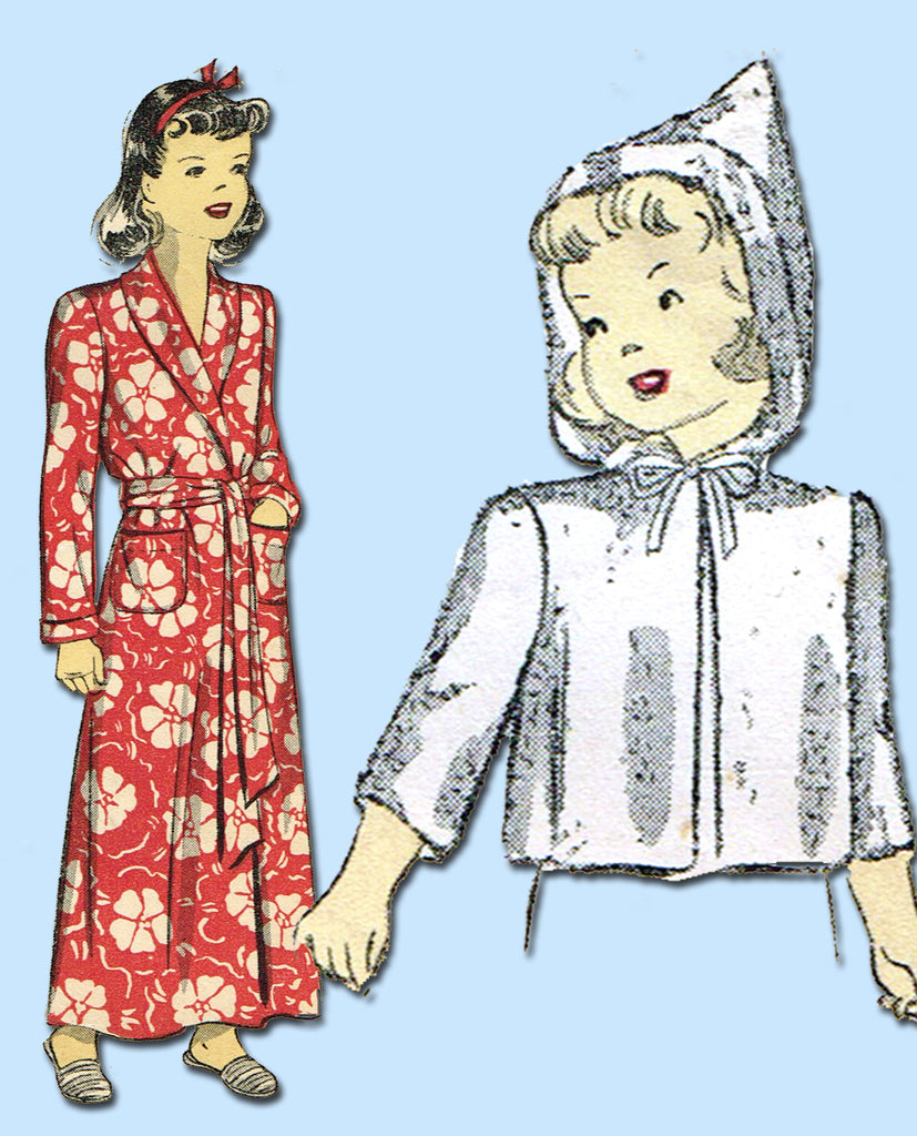 1940s Vintage Du Barry Sewing Pattern 2658 Easy WWII Toddlers Hooded Robe Size 6 - Vintage4me2