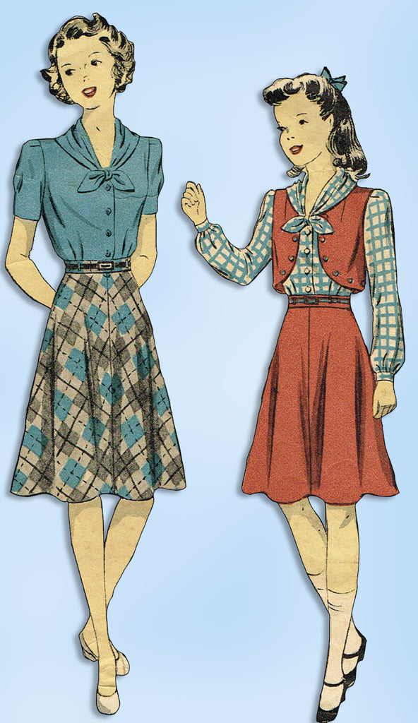 1940s Vintage Du Barry Sewing Pattern 2660 WWII Girls Skirt Blouse Bolero Sz 10