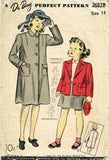 1940s Original Vintage Du Barry Sewing Pattern 2682 WWII Little Girls Coat Sz 14 - Vintage4me2