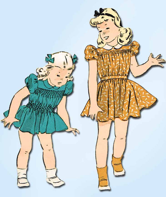1940s Vintage Du Barry Sewing Pattern 2698 WWII Toddler Girls Smocked Dress Sz 2 - Vintage4me2