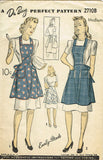 1940s Vintage Du Barry Sewing Pattern 2710 Misses WWII Full Bib Apron Sz 36 38 B