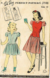 1940s Vintage Du Barry Sewing Pattern 2714 WWII Girls Dress and Jerkin Size 14 - Vintage4me2