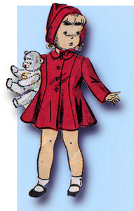 1940s Vintage Du Barry Sewing Pattern 2736 WWII Toddler Girls Coat & Hat Size 4 - Vintage4me2