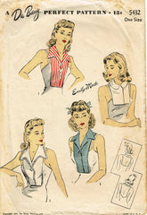 1940s Original Vintage Du Barry Sewing Pattern 5432 Misses WWII Dickey Fits All