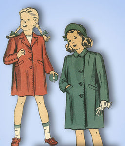 1940s Vintage Du Barry Sewing Pattern 5452 Little Girls WWII Coat Size 8 26 W - Vintage4me2