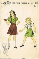 1940s Vintage Du Barry Sewing Pattern 5455 FF Little Girls Skirt & Blouse Size 8 - Vintage4me2