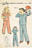 1940s Original Vintage Du Barry Pattern 5496 WWII Little Girls Pajamas Size 8