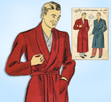 1940s Vintage Du Barry Sewing Pattern 5498 WWII Men's Bath Robe Size 34 36 Bust