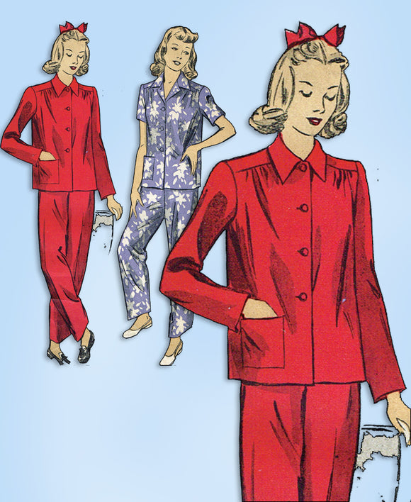 1940s Original Vintage Du Barry Pattern 5538 Easy WWII 2 PC Pajamas Size 32 Bust