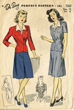 1940s Vintage Du Barry Sewing Pattern 5562 Misses WWII Tailored Suit Size 14 32B - Vintage4me2