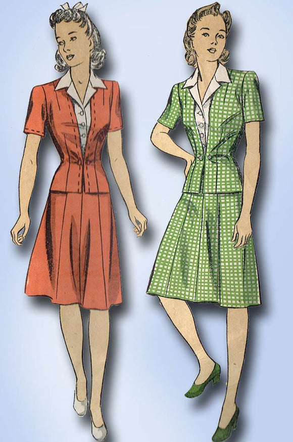 1940s Vintage Du Barry Sewing Pattern 5582 WWII Misses Suit & Dickey Size 32 B - Vintage4me2