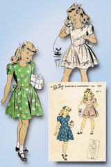 1940s Original Vintage Du Barry Pattern 5625 WWII Toddler Girls Party Dress Sz 6
