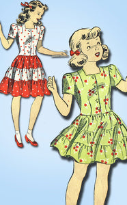 1940s Vintage Du Barry Sewing Pattesrn 5645 WWII Toddler Girls Dress Size 4 23B - Vintage4me2