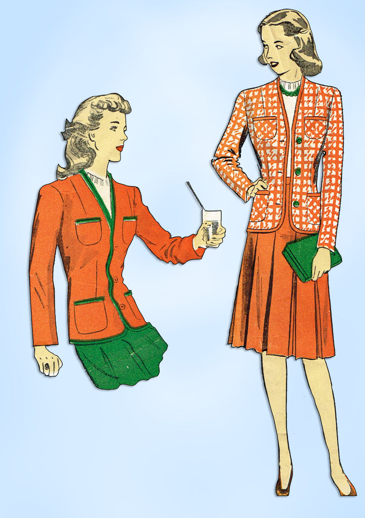 1940s Original Vintage Du Barry Pattern 5689 Charming WWII Misses Suit Sz 32 B