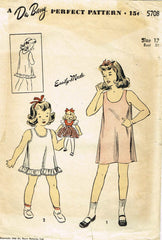 1940s Vintage Du Barry Sewing Pattern 5708 WWII Girls Easy Slip Size 12 30 Bust - Vintage4me2