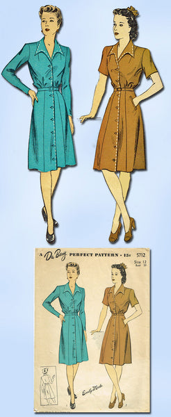 1940s Vintage Du Barry Sewing Pattern 5712 Misses WWII Shirtwaist Dress Size 12 - Vintage4me2