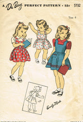 1940s Original Vintage Du Barry Pattern 5732 WWII Toddler Girls Pinafore Dress 4