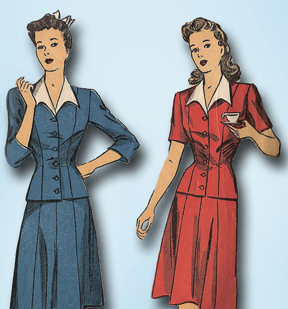 1940s Vintage Du Barry Sewing Pattern 5733 Easy Misses WWII Suit Size 14 32B - Vintage4me2