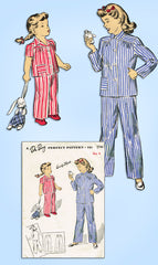 1940s Original Vintage Du Barry Pattern 5744 Easy WWII Toddler Girls Pajamas Sz4