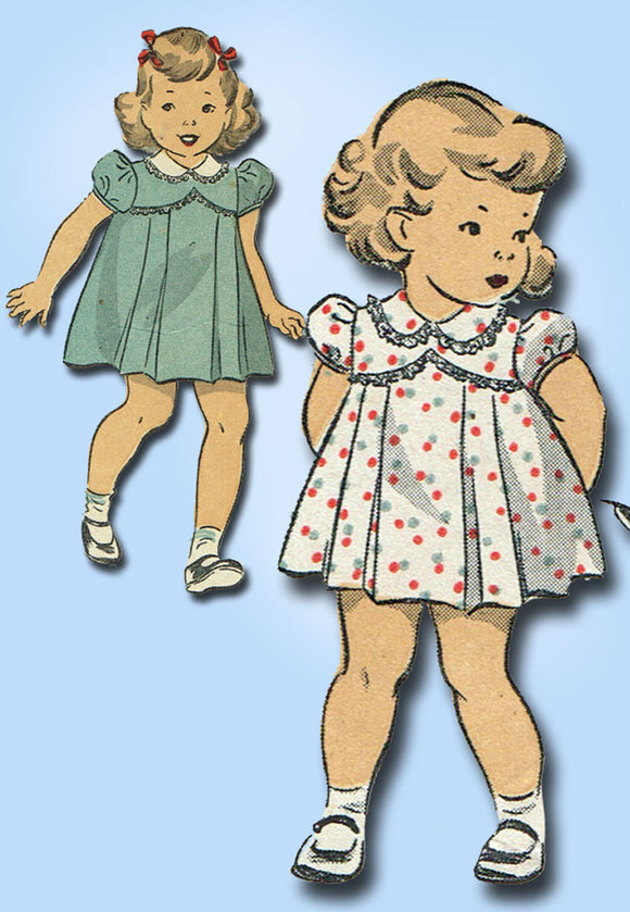 1940s Original Vintage Du Barry Sewing Pattern 5775 WWII Baby Girls Dress Size 1