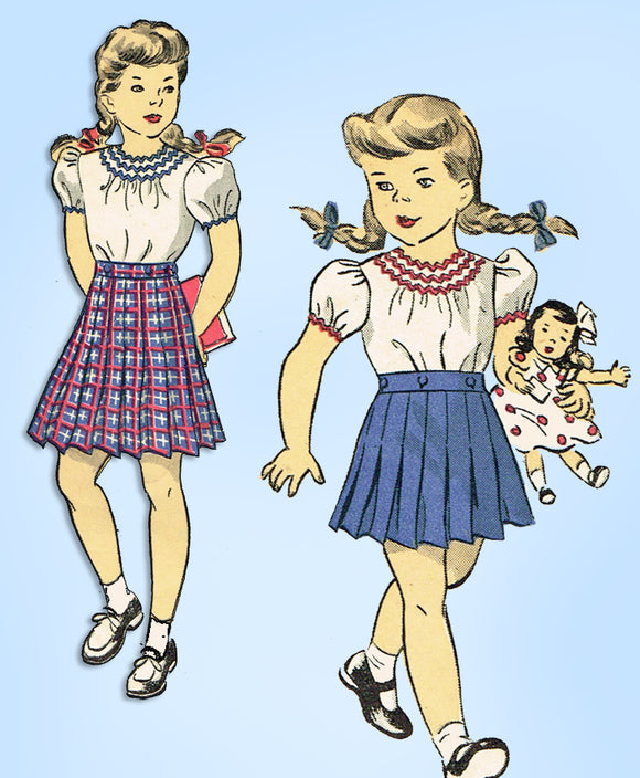 1940s Vintage Du Barry Sewing Pattern 5782 WWII Girls Skirt & Blouse Size 8