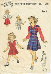 1940s Vintage Du Barry Sewing Pattern 5921 WWII Toddler Girls School Suit Size 6 - Vintage4me2