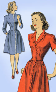 1940s Vintage Du Barry Sewing Pattern 5950 Easy WWII Misses Dress Size 12 30 B - Vintage4me2