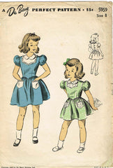 1940s Vintage Du Barry Sewing Pattern 5959 WWII Little Girls Dress Size 8 26B - Vintage4me2