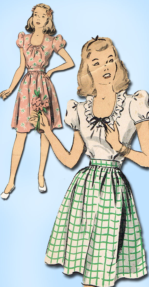 1940s Vintage Du Barry Sewing Pattern 6042 Easy Girls WWII Skirt & Blouse Sz 12 - Vintage4me2