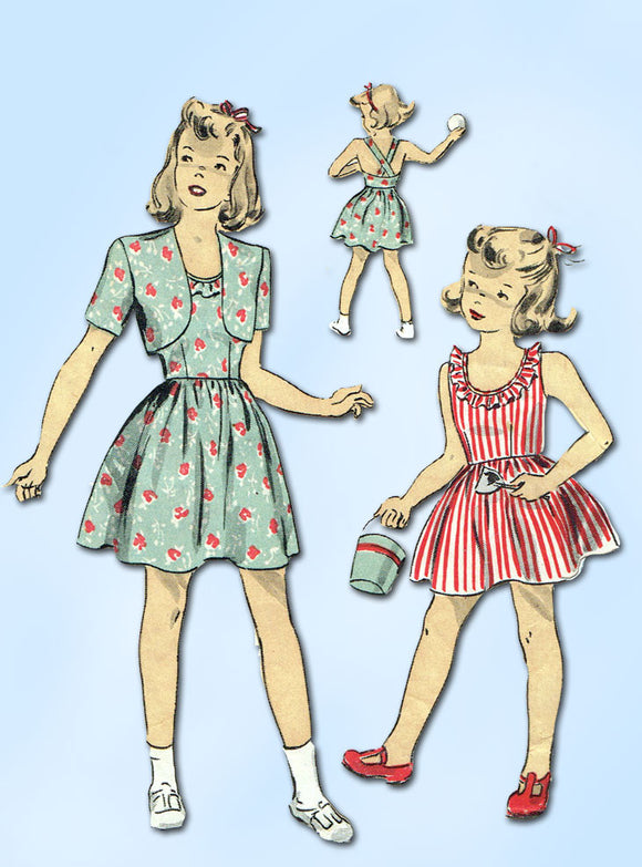 1940s Vintage Du Barry Sewing Pattern 6089 WWII Baby Girls Sun Dress Size 1 19B - Vintage4me2