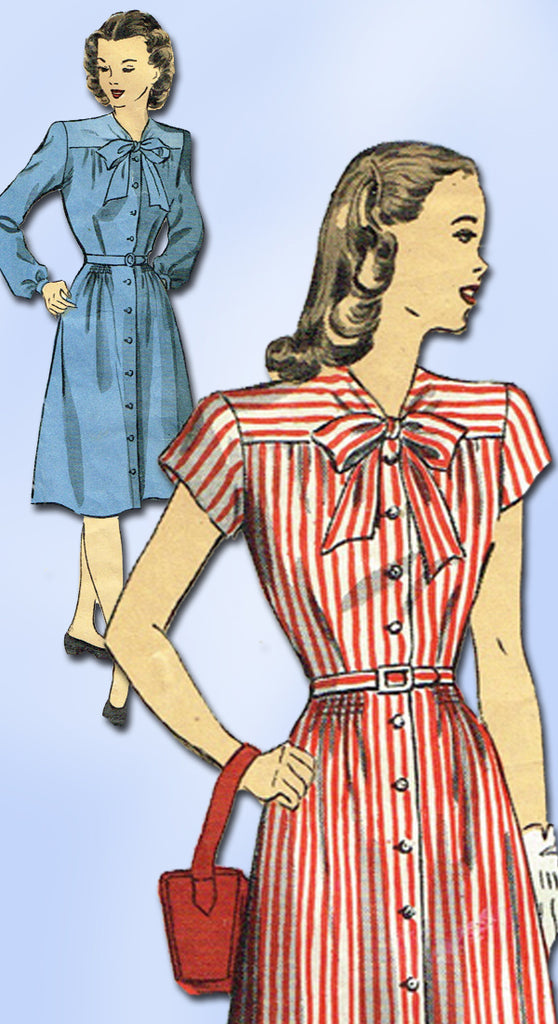 1940s Original Vintage Du Barry Pattern 6141 Misses Shirtwaist Dress Size 34 B