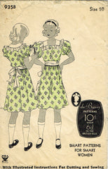 1930s Vintage Du Barry Sewing Pattern 935 Cute Little Girls Party Dress Size 10
