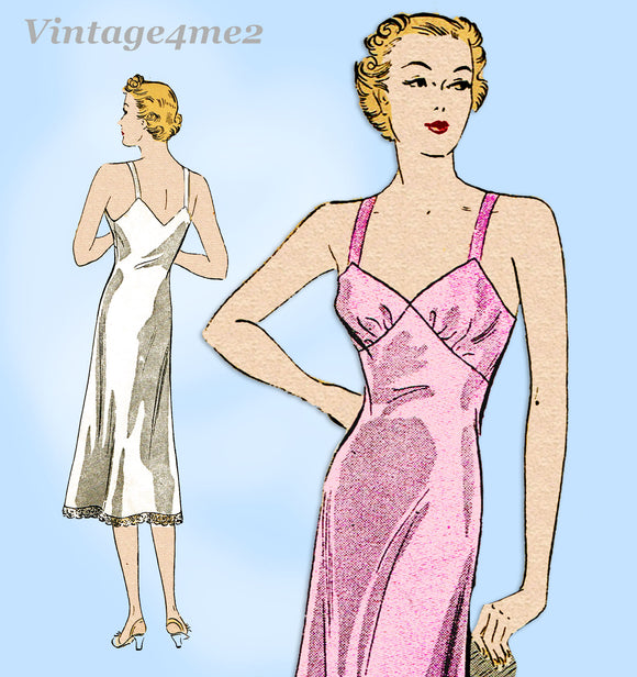 Du Barry D618: 1930s Easy Misses Slip w Bra Top Sz 34 B Vintage Sewing Pattern