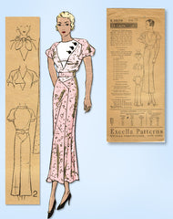 1930s Original Vintage Excella Pattern 3879 Misses Dress w Leg O Mutton Sleeves