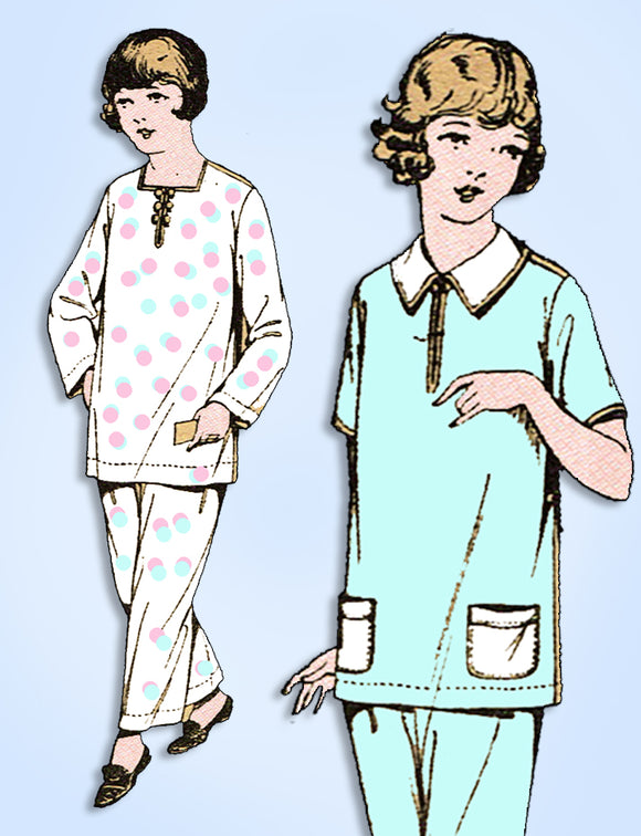 1920s Vintage Excella Sewing Pattern 1741 Little Girls 2 PC Pajama Set Size 12 - Vintage4me2