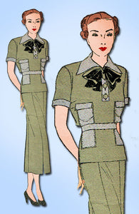 1930s Vintage Excella Sewing Pattern 4823 Misses 2 Pc Casual Dress Size 18 36B - Vintage4me2
