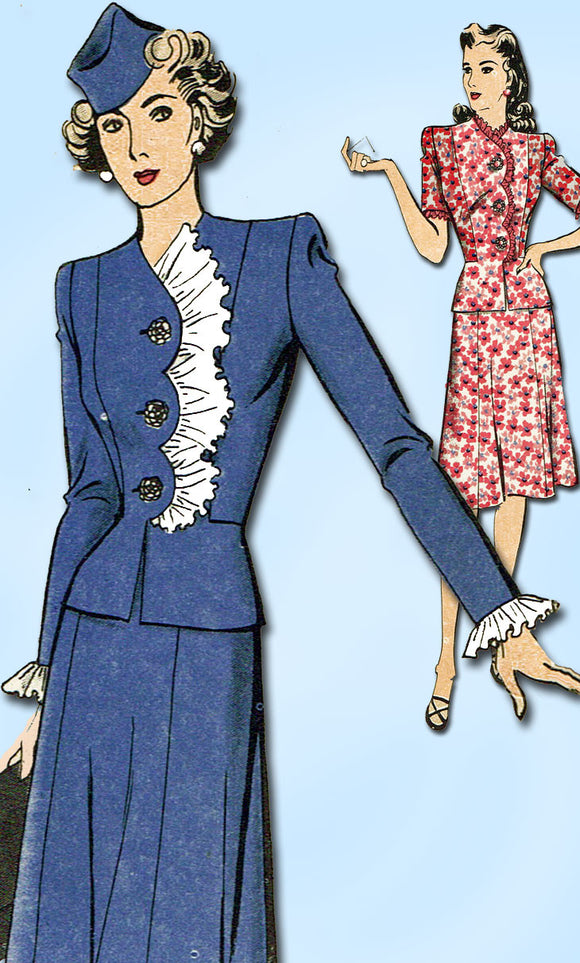 1940s Vintage Hollywood Sewing Pattern 1094 Misses WWII Scalloped Suit Sz 14 32B - Vintage4me2