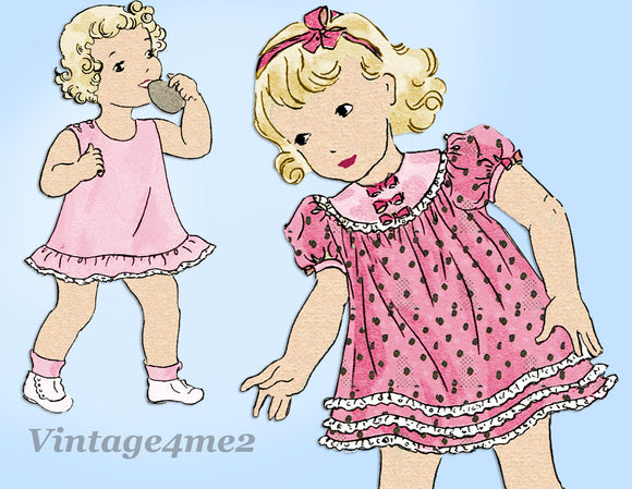 Hollywood 1117: 1930s Toddler Girls Dress & Slip Size 3 Vintage Sewing Pattern - Vintage4me2