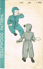 1940s Vintage Hollywood Sewing Pattern 1256 Child's Snow Suit & Cap Baby Size 1 - Vintage4me2