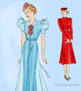 Hollywood 1297: 1930s Rare Plus Size Dinner Dress Sz 40 B Vintage Sewing Pattern