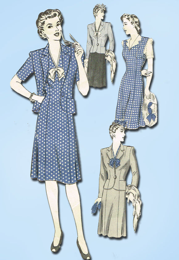 1940s Vintage Hollywood Sewing Pattern 1367 Misses WWII Dress and Jacket Sz 16 - Vintage4me2