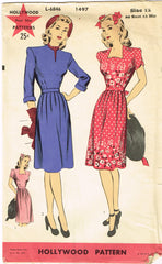 1940s Vintage Hollywood Sewing Pattern 1497 Uncut Misses Street Dress Size 30 B
