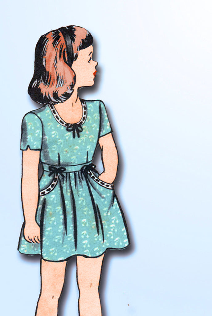 1940s Vintage Hollywood Sewing Pattern 1534 WWII Toddler Girls Dress Size 6 24B - Vintage4me2