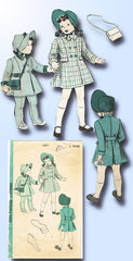 1940s Vintage Hollywood Sewing Pattern 1671 WWII Toddler Girls Coat & Bonnet Sz6