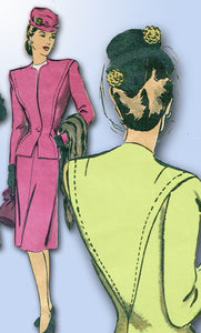 1940s Vintage Hollywood Sewing Pattern 1677 Misses WWII Suit Size 36 Bust